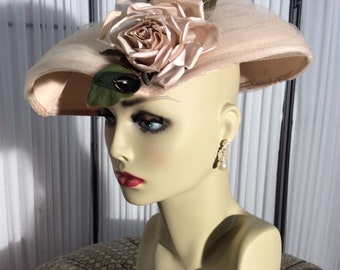 8724affa Vintage rosy- beige tulle and flower church hat, wedding hat