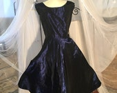 Vintage 1960, Midnight blue, embroidered taffeta cocktail party dress