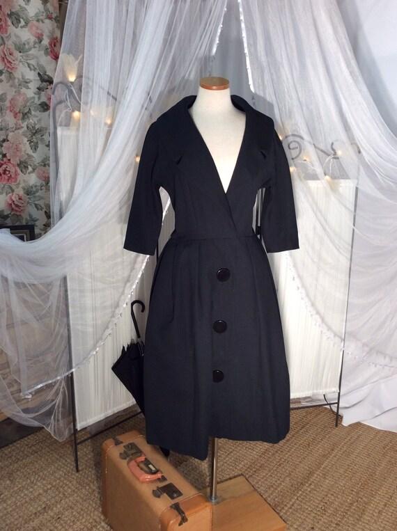 Vintage 50's black charcoal button down, cotton co