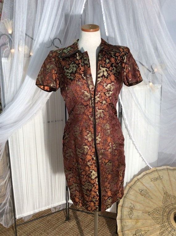 Vintage 1970;Chinese classic dress in brown & gree