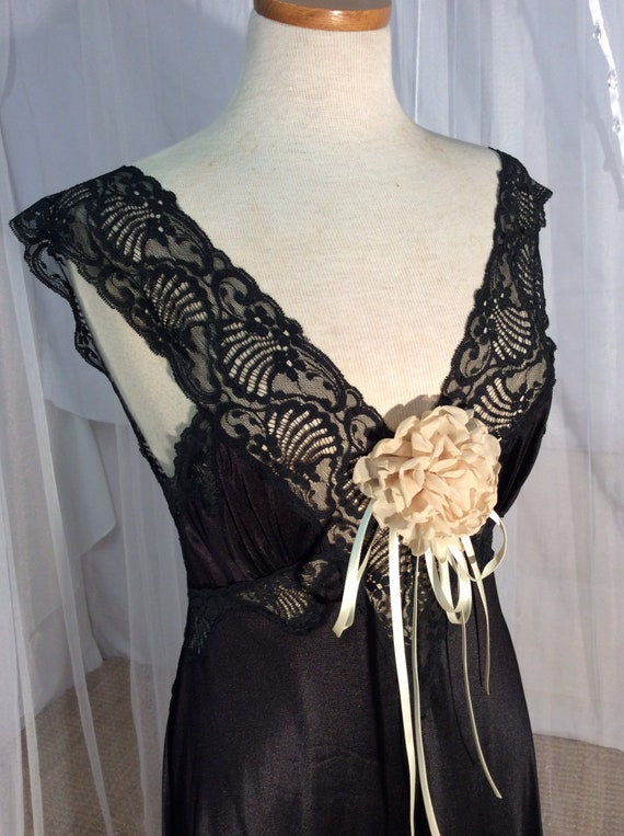 Vintage slip dress in black lace & nylon with shee
