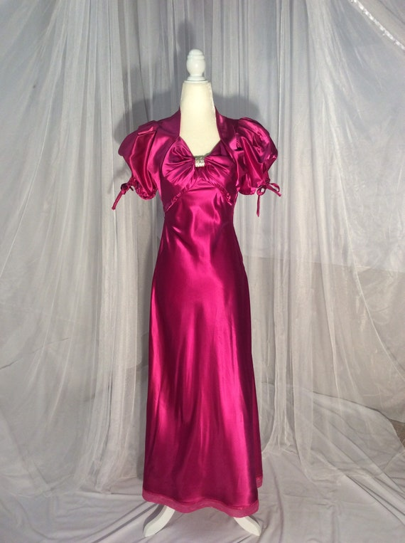 Vintage raspberry satin maxi gown, prom dress, wit