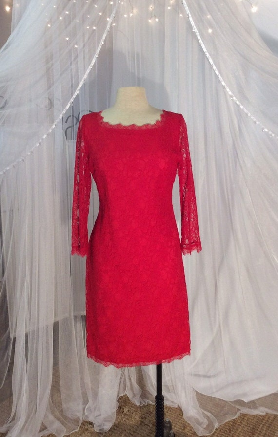 Vintage 1970's, short, red lace cocktail dress with long sleeves