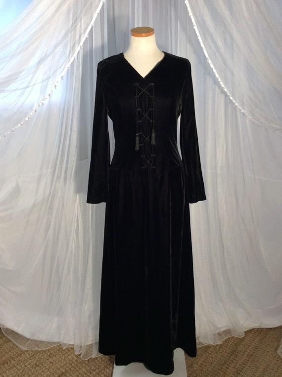 1970's Vintage black rayon velvet goth/ boho maxi