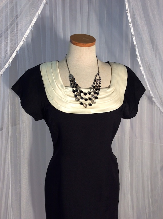 Vintage 1980's black sheath wiggle dress with ivor