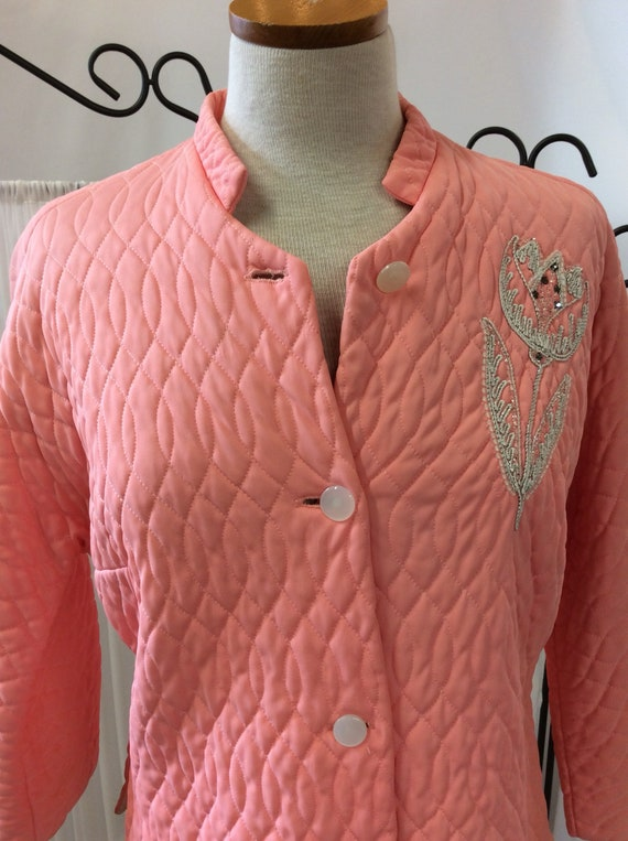 1950's Coral quilted, embellished, bed jacket, cor