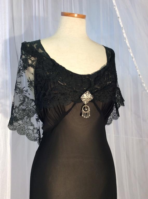 Vintage Chevette sheer black bias cut gown with fu