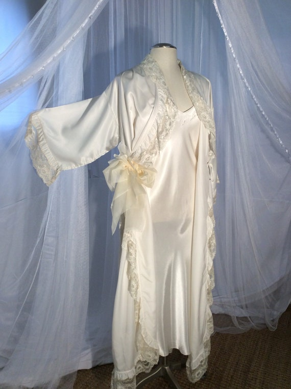 Ivory bias cut slip gown with long ruffled duster