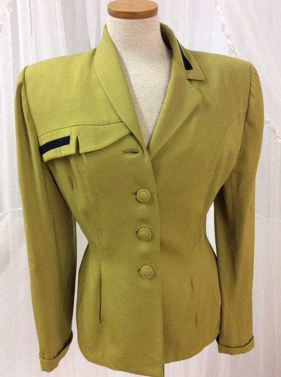 Vintage 1940's Lilli Ann chartreuse blazer jacket