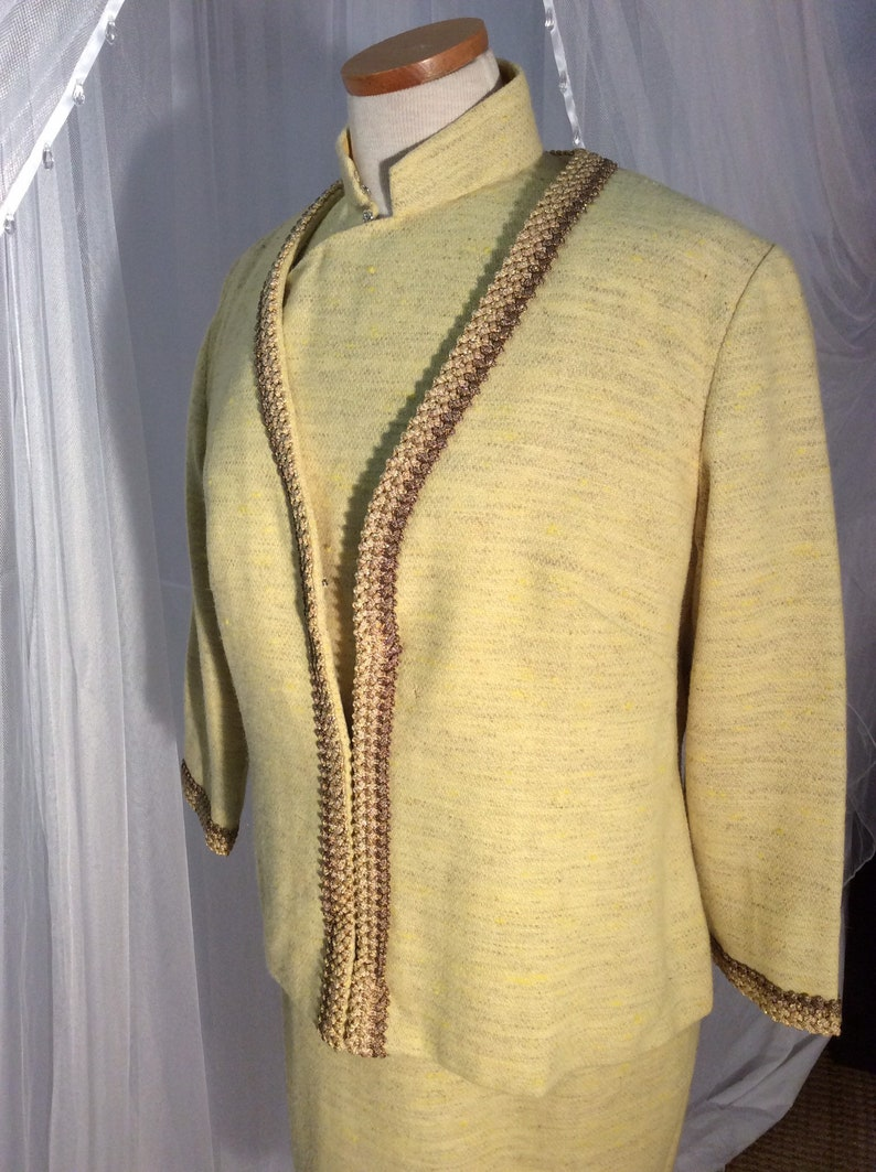 style sheath and matching jacket with gold braid trim Asian Vintage 1950\u2019s yellow wool tweed