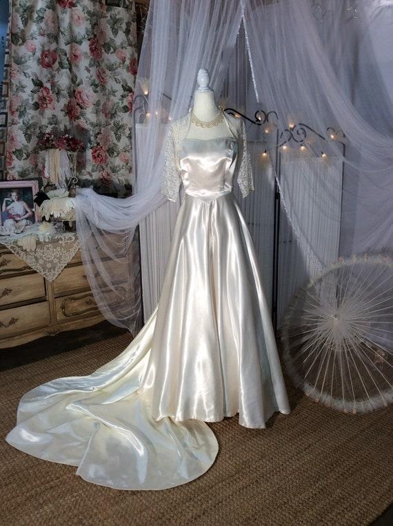 Vintage 1950's liquid satin, strapless wedding dre