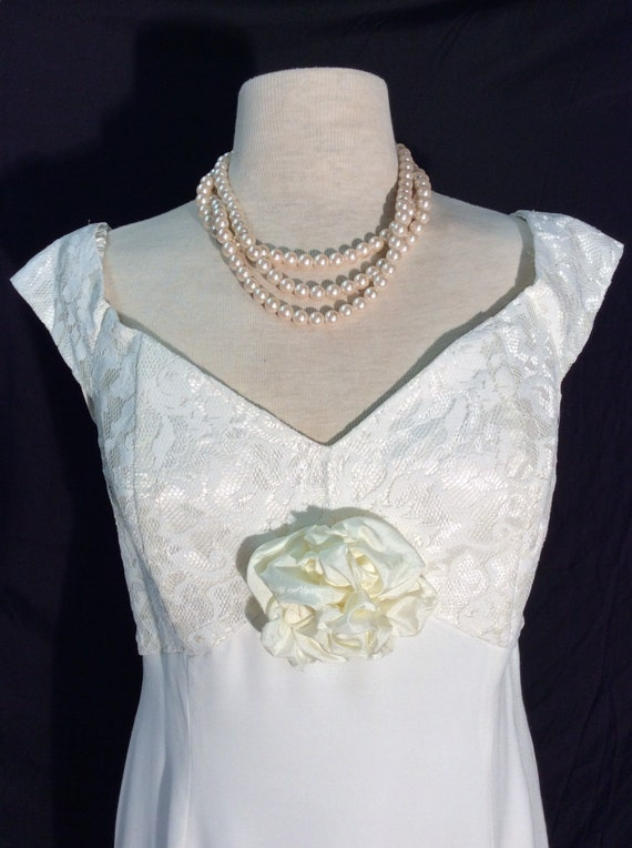 Scott McClintock 1980's ivory sheath wedding gown