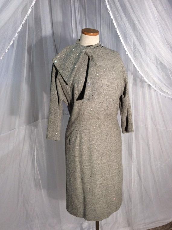 Vintage Peggy Hunt 1950's gray wool sheath dress w