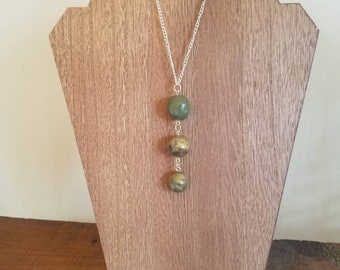 Polymer Clay Olive Green and Gold Beaded Necklace