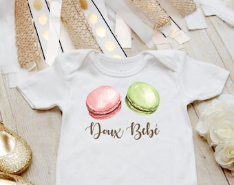 Macaron Onesie ®, Doux Bebe - Sweet Baby Onesie, Food Onesie, Cute Baby Clothes, Baby Girl Bodysuit, Girls Baby Shower Gift, French Baby