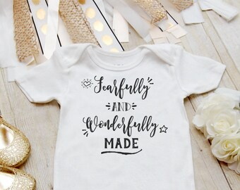 Fearfully and Wonderfully Made Onesie ® Christian Baby Gift, Baby Shower Gift, Miracle Baby, Take Home Outfit, Pregnancy Announcement Onesie