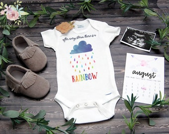 c3ff72f85 ORIGINAL After Every Storm There Is A Rainbow Baby Onesie ® for Pregnancy  Announcement Reveal, Baby Shower Gift, Take Home Outfit Bodysuit