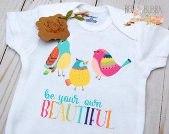 Rainbow Bird Onesie ® Be Your Own Beautiful Shirt, Birds Boho Baby Clothes, Girl Onesie, Baby Gift, Shower Gift, Toddler Shirt, Bee & Bubba