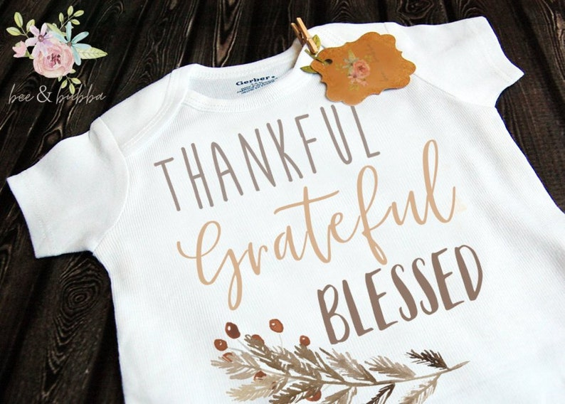 d6d48ace0 Thankful Grateful Blessed Baby Onesie ® for Pregnancy | Etsy
