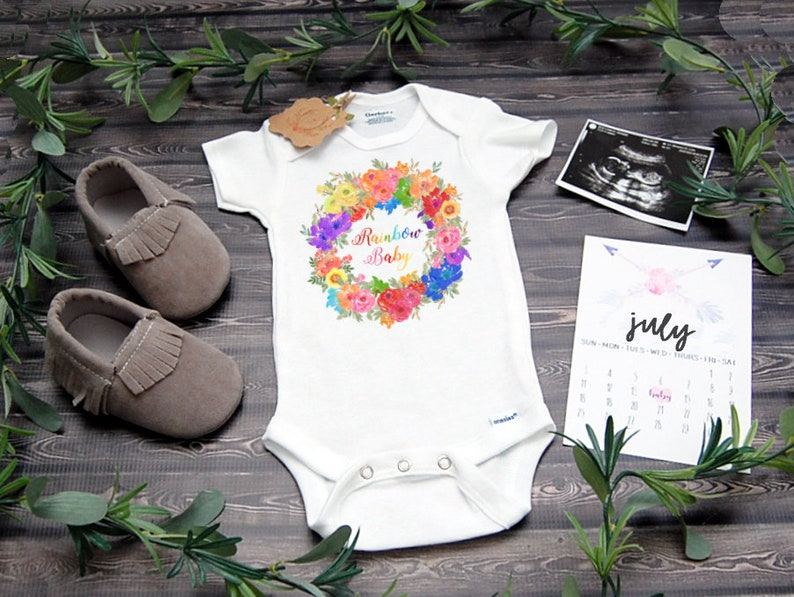 a90e511c7 Rainbow Baby Onesie ® for Pregnancy Announcement or Reveal | Etsy
