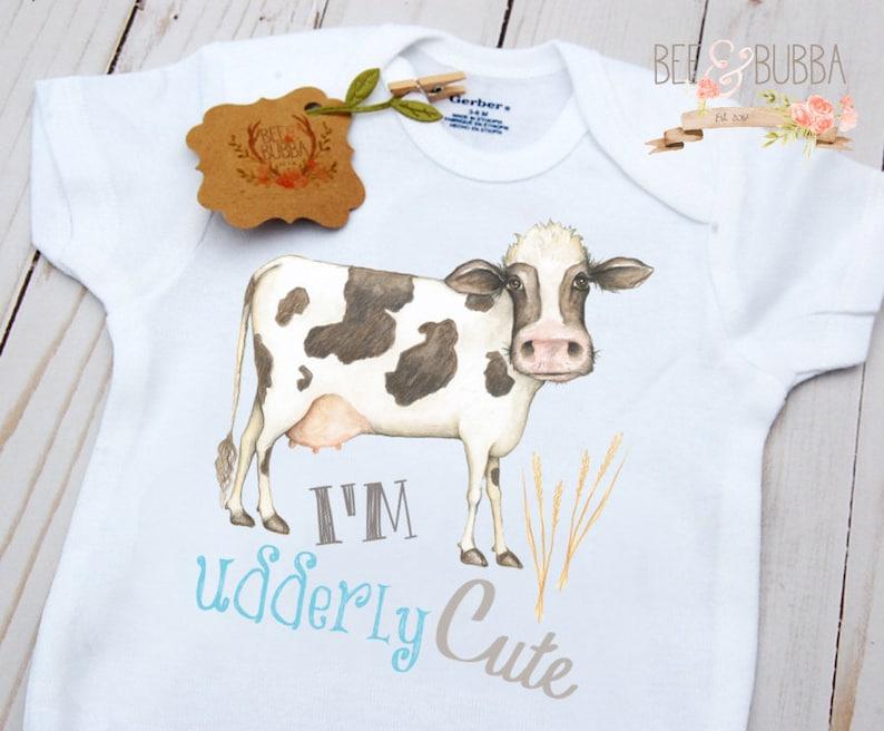 Cute Baby Gift Farmer Baby Farm Cow Onesie \u00ae I/'m Udderly Cute Onesie Cow Shirt Cow Bodysuit Boys Baby Shower Gift Boy Baby Clothing