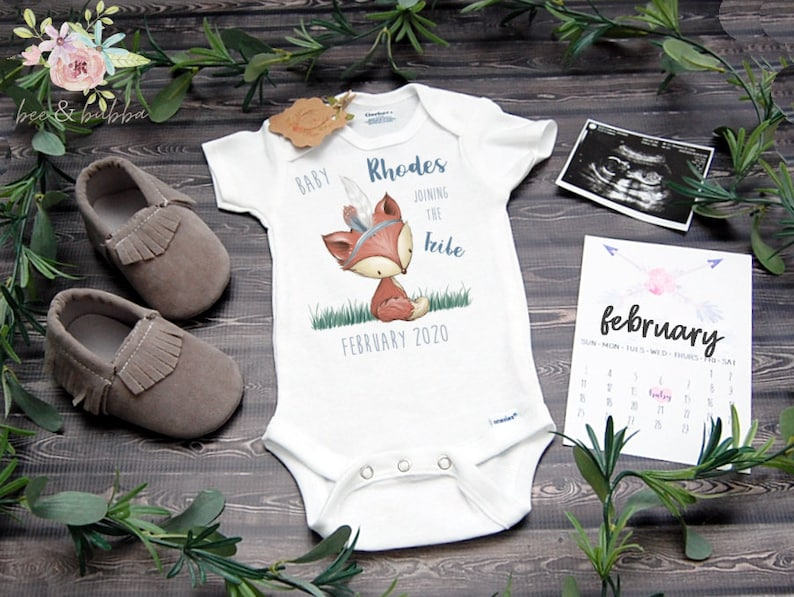 Joining the Tribe Fox Baby Onesie ® for Pregnancy Announcement or Gender  Reveal, Due Date Bodysuit, Photo Shoot Prop, New Boho Baby Gift
