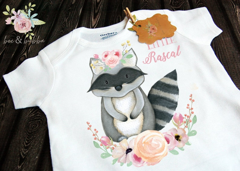 Boho Baby Clothes Baby Shower Gift Little Rascal Raccoon Baby Onesie \u00ae for Pregnancy Announcement or Reveal Girls Take Home Outfit