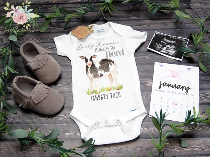 300826b46ec4d Cow Custom Baby Onesie ® for Fathers Day Pregnancy | Etsy
