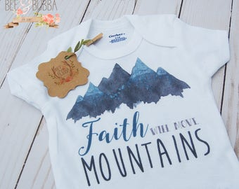 Faith Will Move Mountains Onesie ® Christian Baby Gift, Baby Shower Gift, Miracle Baby, First Outfit Take Home Outfit Pregnancy Announcement