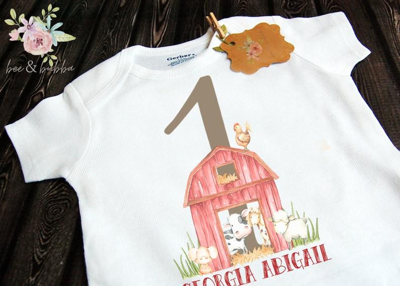 Boys or Girls Toddler Shirt Personalized Farmer Baby Onesie \u00ae for First Birthday Party Outfit Unisex Farmer Party Custom Farm Bodysuit