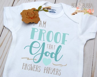 Proof That God Answers Prayers Onesie ®, Christian Baby Gift, Baby Shower Gift, Miracle Baby, Take Home Outfit, Pregnancy Announcement