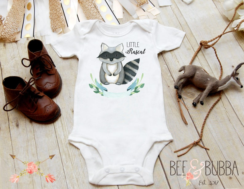 Baby Clothes Little Rascal Raccoon Baby Onesie \u00ae for Pregnancy Announcement or Reveal Boys Take Home Outfit Baby Shower Gift