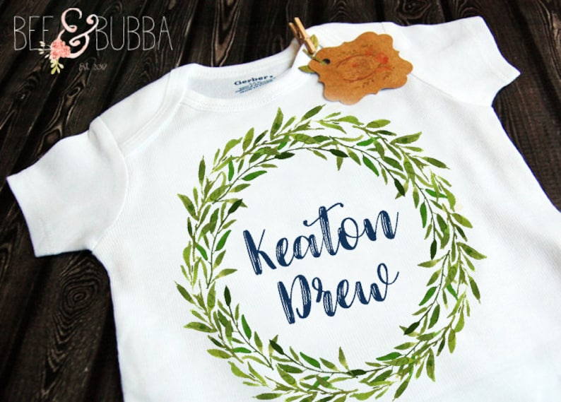 Take Home Outfit Bodysuit Unisex Clothes Green Wreath Personalized Baby Onesie \u00ae for Pregnancy Announcement or Reveal Baby Shower Gift