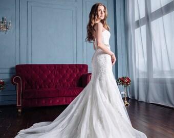 Wedding Dress Alison, Lace Wedding Dress, Mermaide  Wedding Dress,Open Back Gown,Sexy Wedding Dress, Unique Wedding, Elegant  Wedding Dress