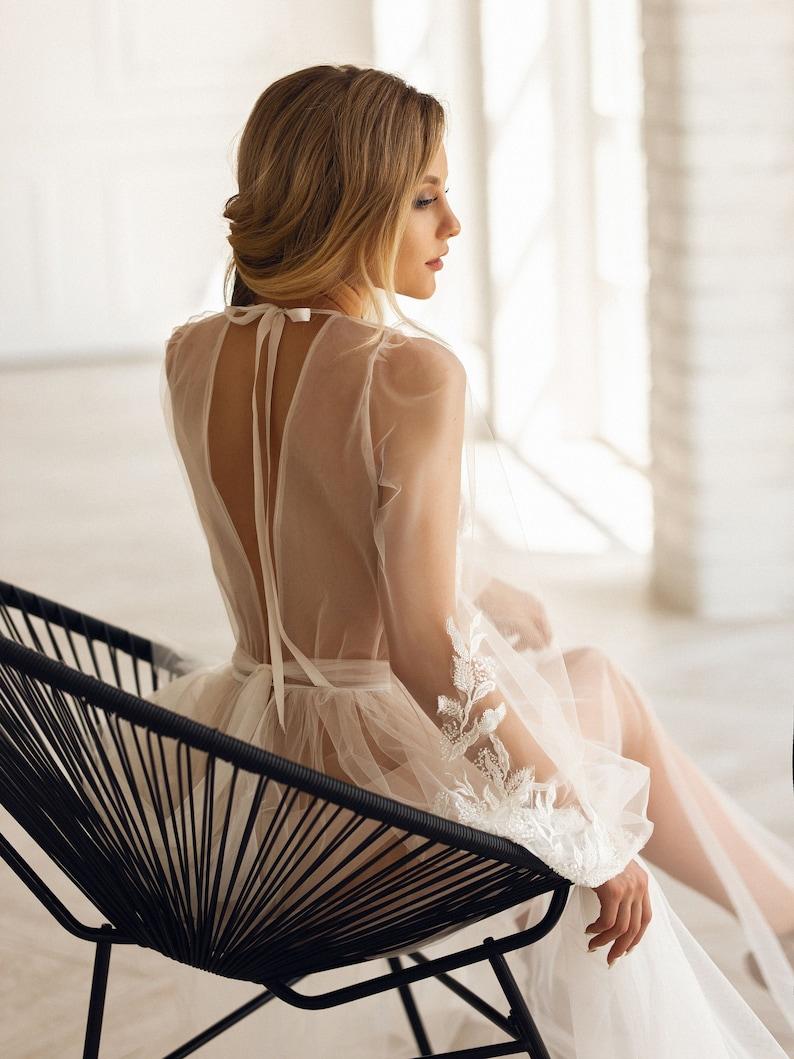 Maxi Luxury Bridal Robe Lace Photo Shoot Dress Boudoir image 0