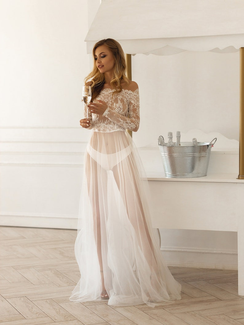 Tulle robe Chantilly lace dress Long sleeves robe Luxury image 2