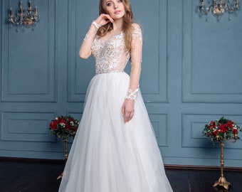 Wedding Dress  EIle  Lace with Long sleeves   Boho  Wedding Dress Open Back Wedding Dress Long Sleeve Wedding Dress Vintage  Princess Gowns