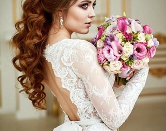 Wedding Dress Renaissance , Lace Wedding Dress, Bohemian Wedding Dress, Long Sleeve Dress, Open Back Gown, Vintage Wedding Dress, 2 in 1