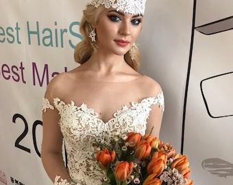 Wedding Dress Rain Boho  Wedding Dress Open Back Wedding Dress  Sexy Wedding Dress Long Sleeve Princess Gowns ,Beach
