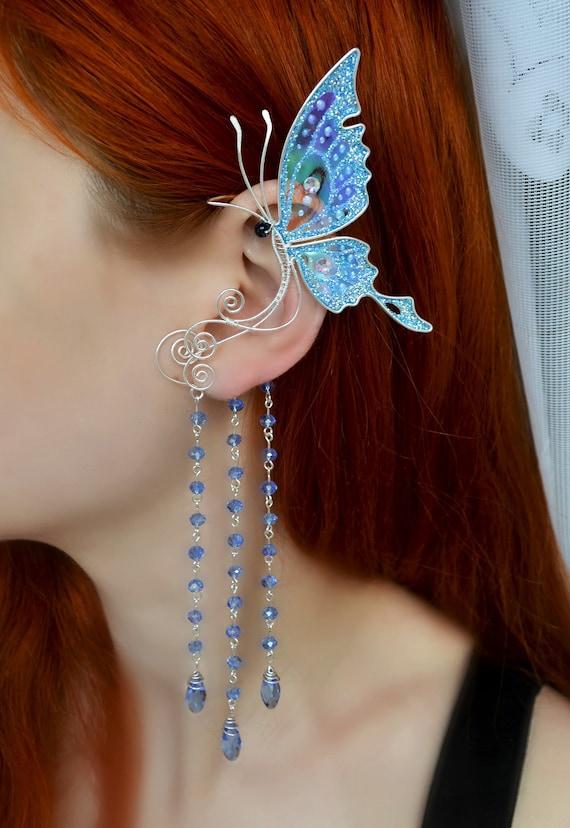 Butterfly Dangling Earring Butterfly Chain and Cuff Earring