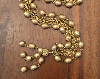 Coro two Strand Gold Tone Long Tassle Necklace