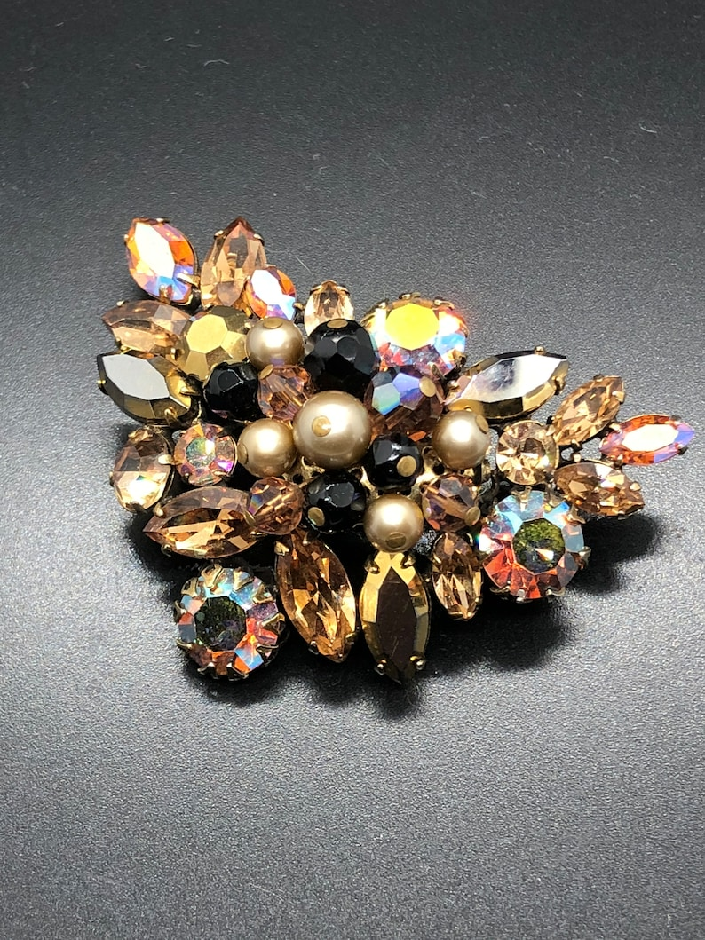 Jewelry & Watches Fashion Jewelry Vintage Floral Brooch From 1950 In Burnt Orange Tone Gemstones
