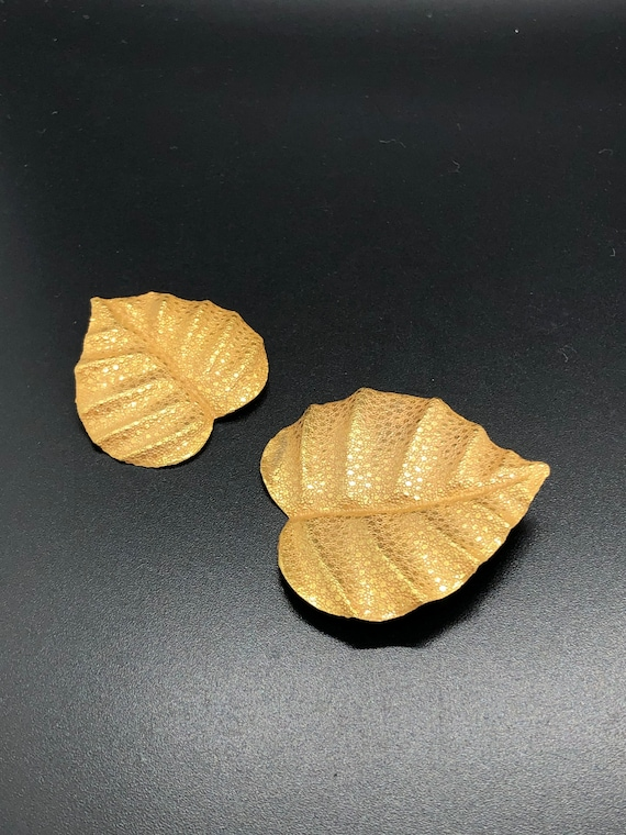 Pair of Vintage Haskell Textured Leaf Brooch, sign