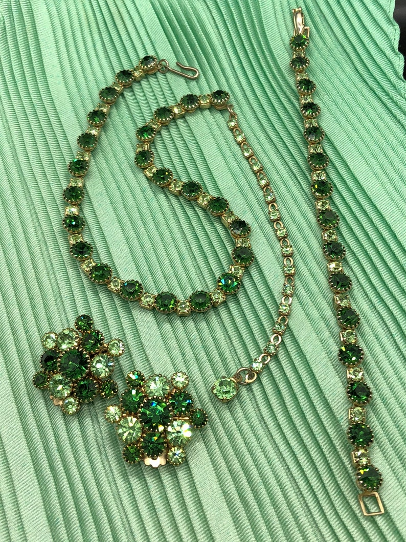 Vintage Forest and Mint Green Rhinestone Necklace Earring and Bracelet Set