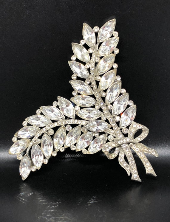 Vintage Large Double Leaf Feather Clear Crystal Rh