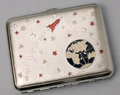 Rare Vintage Cigarette Case Space 60s Aluminum Enamel Gift For Boyfriend Accessories Retro USSR Cigarette Case Old Soviet Cigarette Case