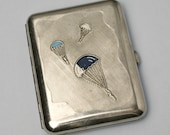 Old Cigarette Case Parachut Vintage Card Holder Gift Silver color Accessory For Men Retro Compact Case Russian Soviet Case Paratroopers