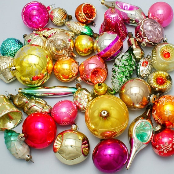 image 0 - 10 Christmas Glass Ornaments Random Russian Glass Multicolor Etsy