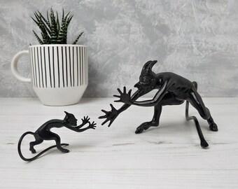 Devil figurines Vintage Soviet satyr metal Small and big Mephistopheles sculpture Iron casting Lucifer black