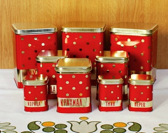 Vintage Kitchen Containers Nine Red Polka Dot Soviet Storage Tin Box 1970s Metal USSR Retro Farmhouse Decor Soviet Rustic Canisters